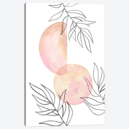 Blush pink shapes and leaves Canvas Print #WWY217} by Whales Way Art Print