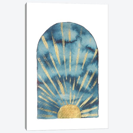 Navy and gold boho sunrise Canvas Print #WWY220} by Whales Way Art Print