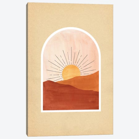 Terracotta Boho Sunrise Canvas Print #WWY226} by Whales Way Canvas Artwork