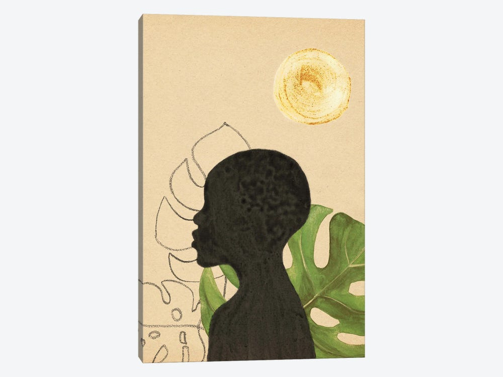 Black Woman And Tropical Plants by Whales Way 1-piece Canvas Artwork