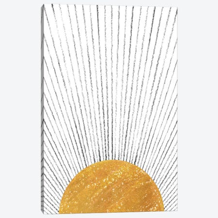 Abstract Mustard Sun Canvas Print #WWY233} by Whales Way Canvas Art
