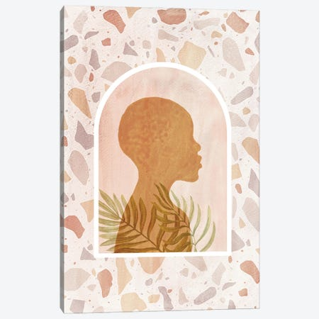 African Girl And Terrazzo Pattern Canvas Print #WWY246} by Whales Way Canvas Wall Art