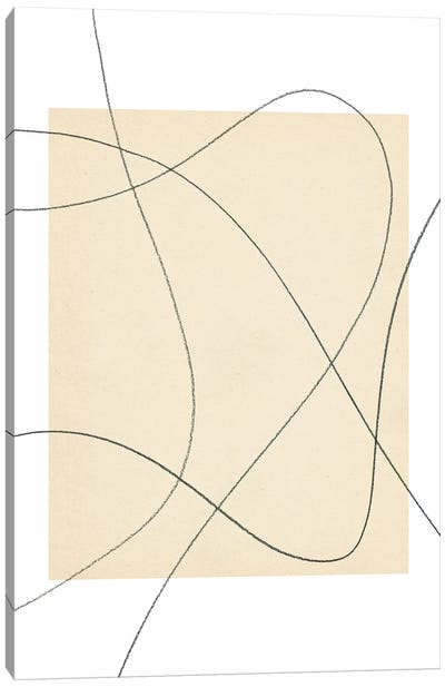 Neutral Abstract Lines Canvas Art Print