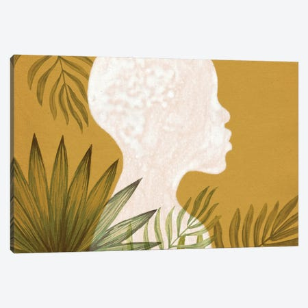 African Girl And Plants Canvas Print #WWY258} by Whales Way Canvas Art