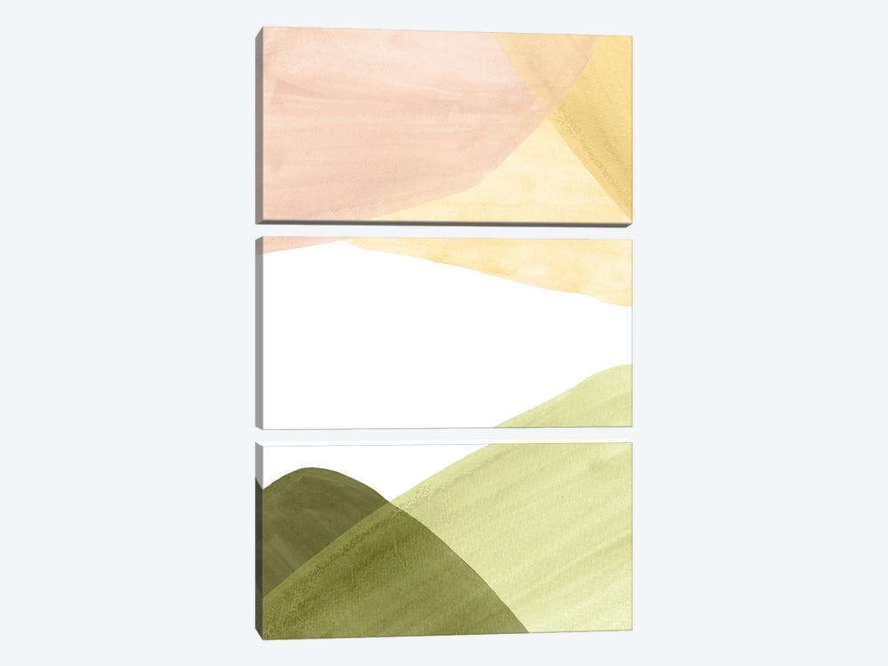 Abstract Landscape In Pastel Tones by Whales Way 3-piece Canvas Art