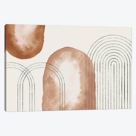 Earth Tone Geometric Art Canvas Print #WWY273} by Whales Way Canvas Artwork