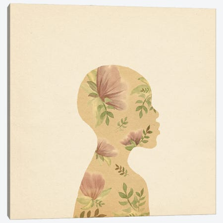 Floral African Woman Canvas Print #WWY277} by Whales Way Art Print