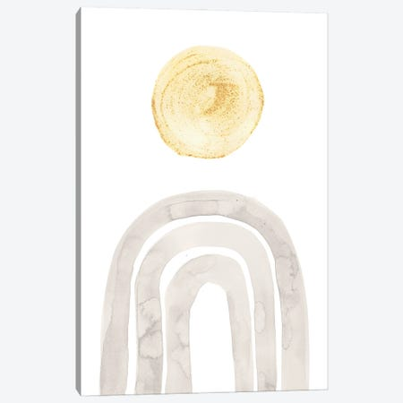 Boho Rainbow And Sun, Gray And Mustard Yellow Canvas Print #WWY278} by Whales Way Canvas Artwork