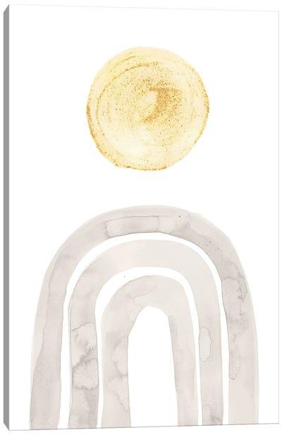 Boho Rainbow And Sun, Gray And Mustard Yellow Canvas Art Print