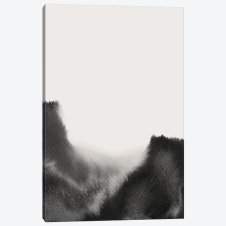 Abstract Black Watercolor Canvas Print #WWY279} by Whales Way Canvas Artwork