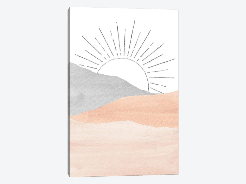 Pink And Gray Sunrise by Whales Way 1-piece Canvas Art Print