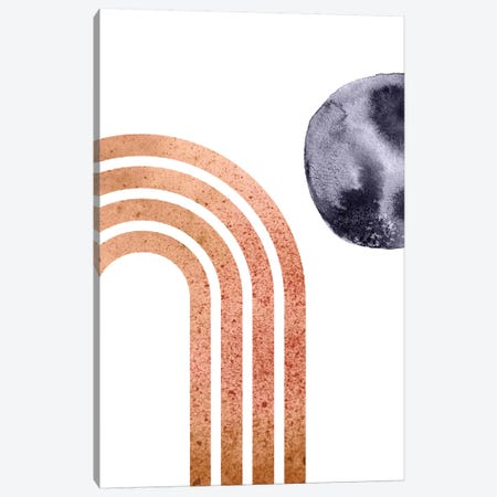 Navy Blue Moon And Abstract Rainbow Canvas Print #WWY28} by Whales Way Canvas Art