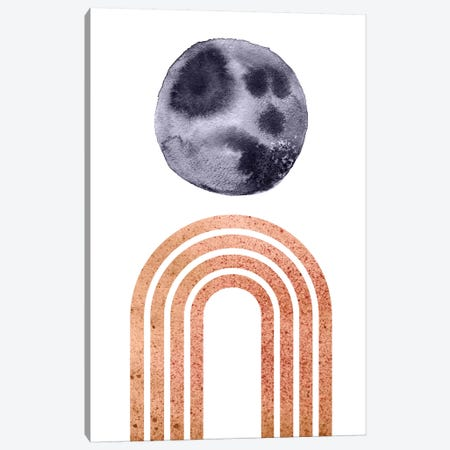 Navy Blue Moon And Terracotta Rainbow Canvas Print #WWY29} by Whales Way Canvas Artwork