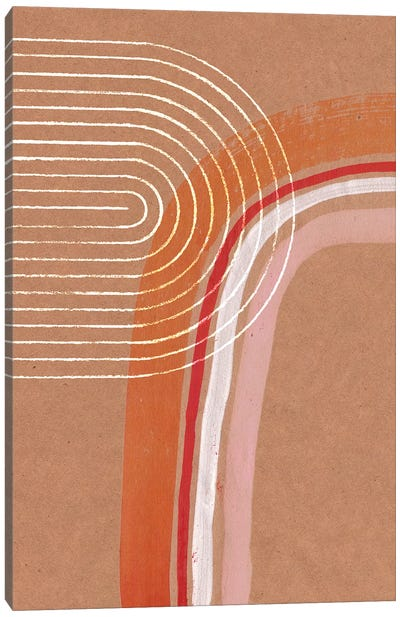 Abstract Beige And Orange Rainbow Canvas Art Print