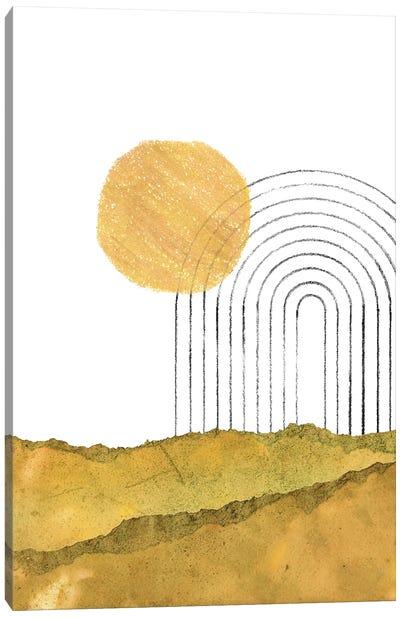 Abstract Boho Sun And Rainbow Canvas Art Print