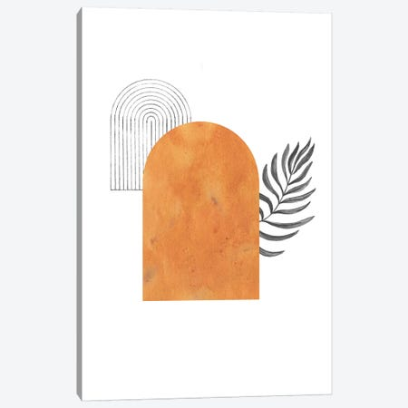 Orange Arch And Palm Canvas Print #WWY32} by Whales Way Canvas Art Print