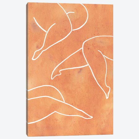 Orange Female Legs Canvas Print #WWY33} by Whales Way Art Print