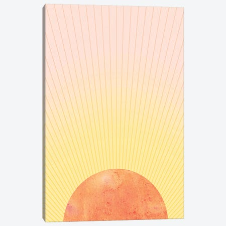 Orange Sun Canvas Print #WWY34} by Whales Way Canvas Wall Art