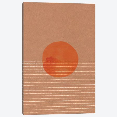 Orange Sun In The Sea Canvas Print #WWY35} by Whales Way Canvas Art