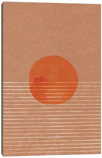 Orange Sun In The Sea Canvas Art Print