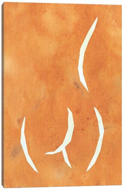 Terracotta Female Figure Woodblock Style Canvas Art Print