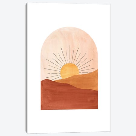 Abstract Geometric Sunset Canvas Print #WWY47} by Whales Way Canvas Art Print