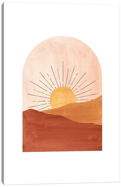 Abstract Geometric Sunset Canvas Art Print