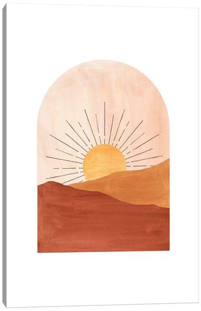 Abstract Geometric Sunset Canvas Art Print