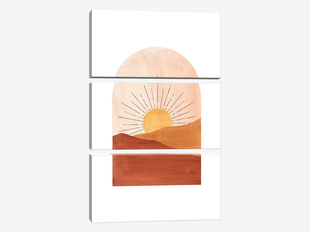 Abstract Geometric Sunset by Whales Way 3-piece Canvas Artwork