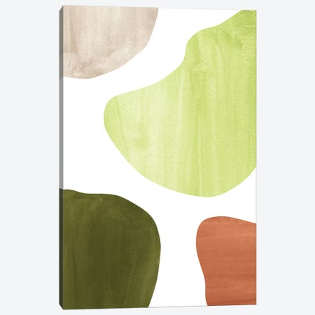 Olive Green Shapes Canvas Print #WWY53} by Whales Way Canvas Art Print