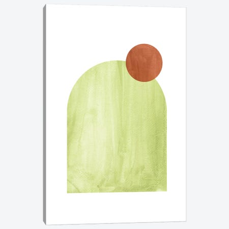 Green And Terracotta Shapes Canvas Print #WWY56} by Whales Way Canvas Artwork
