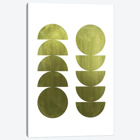 Green Geometric Shapes Canvas Print #WWY60} by Whales Way Canvas Artwork