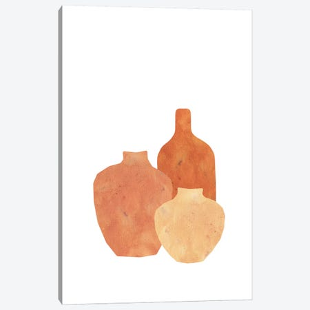 Terracotta Clay Vases Canvas Print #WWY65} by Whales Way Art Print