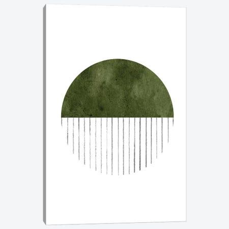 Dark Green Circle Art Canvas Print #WWY76} by Whales Way Canvas Wall Art
