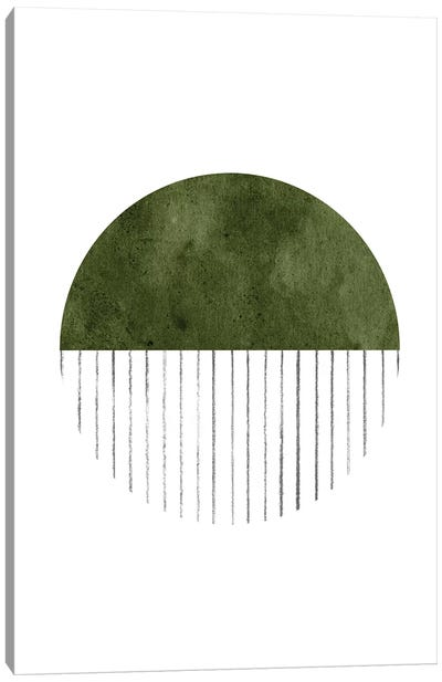 Dark Green Circle Art Canvas Art Print
