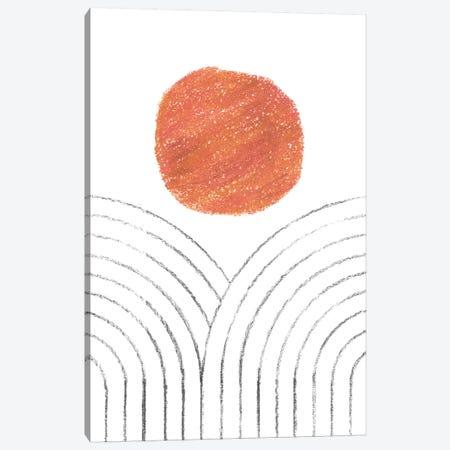 Orange Sun And Line Art Rainbows Canvas Print #WWY83} by Whales Way Canvas Artwork