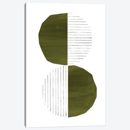 Dark Green Circles Canvas Print #WWY86} by Whales Way Canvas Art Print
