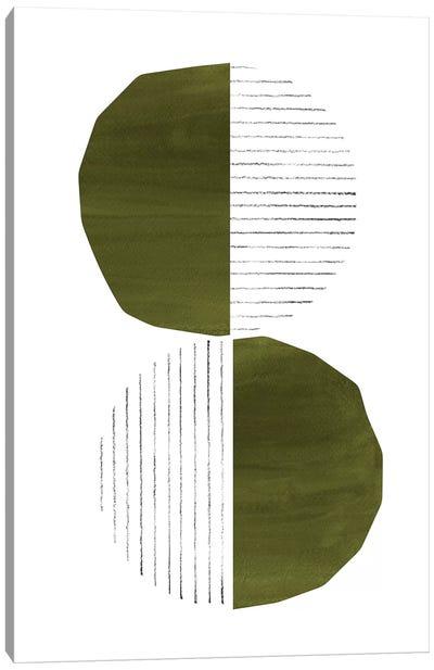 Dark Green Circles Canvas Art Print