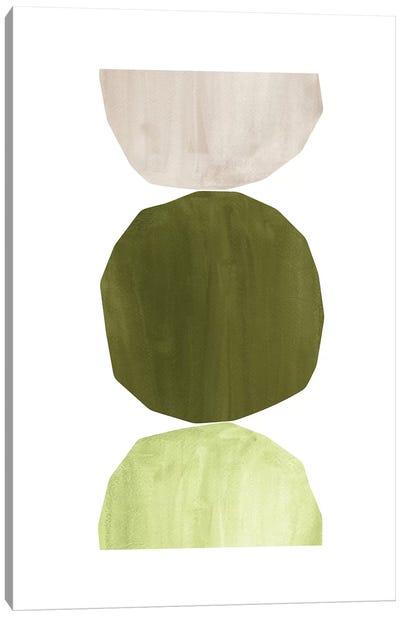 Green Tone Shapes Canvas Art Print