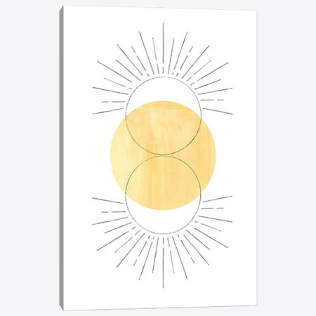 Mustard Yellow Sun, Abstract Art Canvas Print #WWY99} by Whales Way Canvas Print