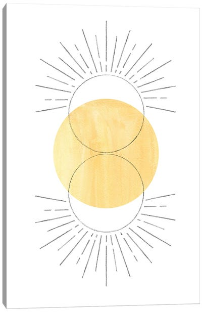 Mustard Yellow Sun, Abstract Art Canvas Art Print
