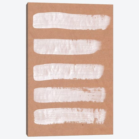 Beige And White Brush Strokes Canvas Print #WWY9} by Whales Way Canvas Wall Art