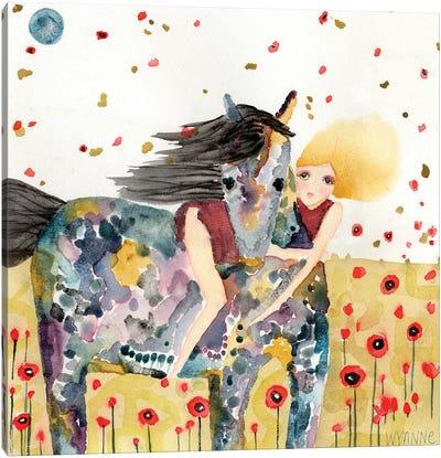 Wind In The Poppy Field Canvas Art Print