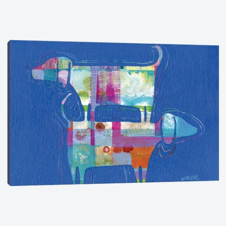 Double Wags Double Fun Canvas Print #WYA13} by Wyanne Canvas Artwork
