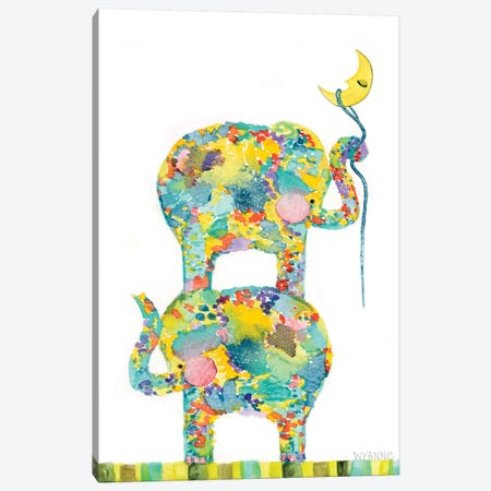 Lasso The Moon Elephants Canvas Print #WYA23} by Wyanne Art Print