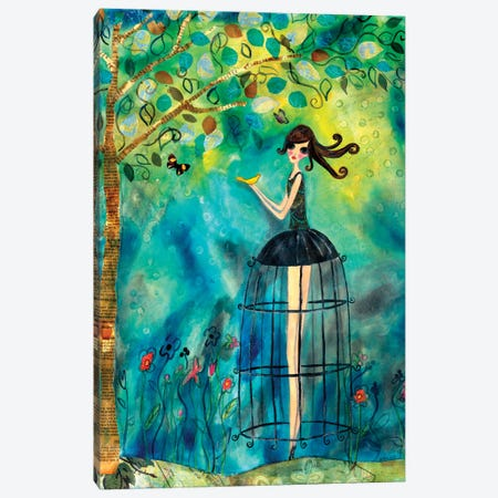 Big Eyed Girl Second Thoughts Canvas Print #WYA50} by Wyanne Canvas Art