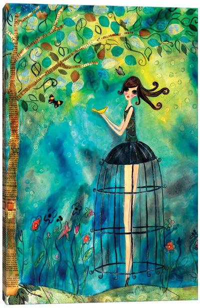 Big Eyed Girl Second Thoughts Canvas Art Print