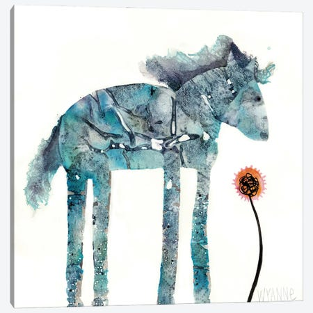 Blue Painted Pony Canvas Print #WYA56} by Wyanne Canvas Art Print