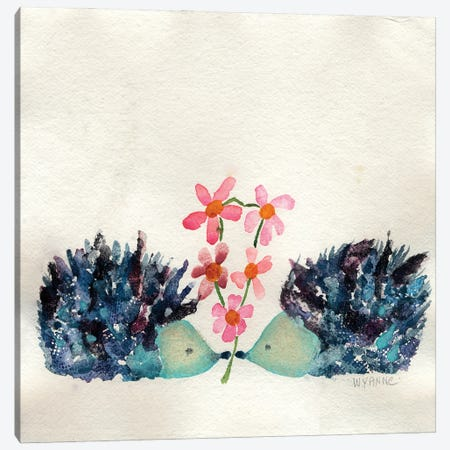 Hedgehogs In Love Canvas Print #WYA74} by Wyanne Canvas Art Print