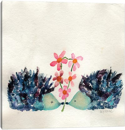 Hedgehogs In Love Canvas Art Print